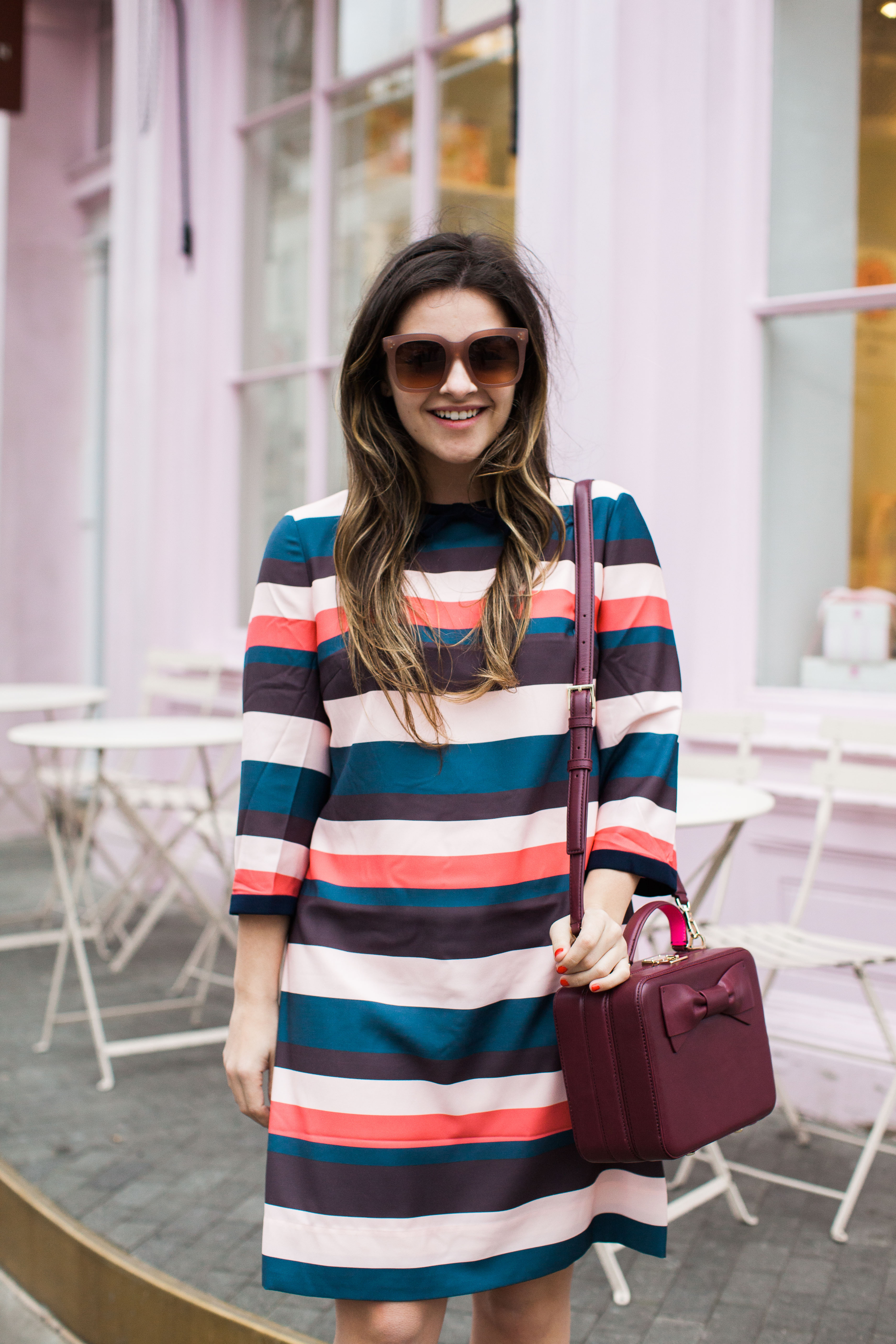 Stripe Dress For Spring With Kate Spade Bag