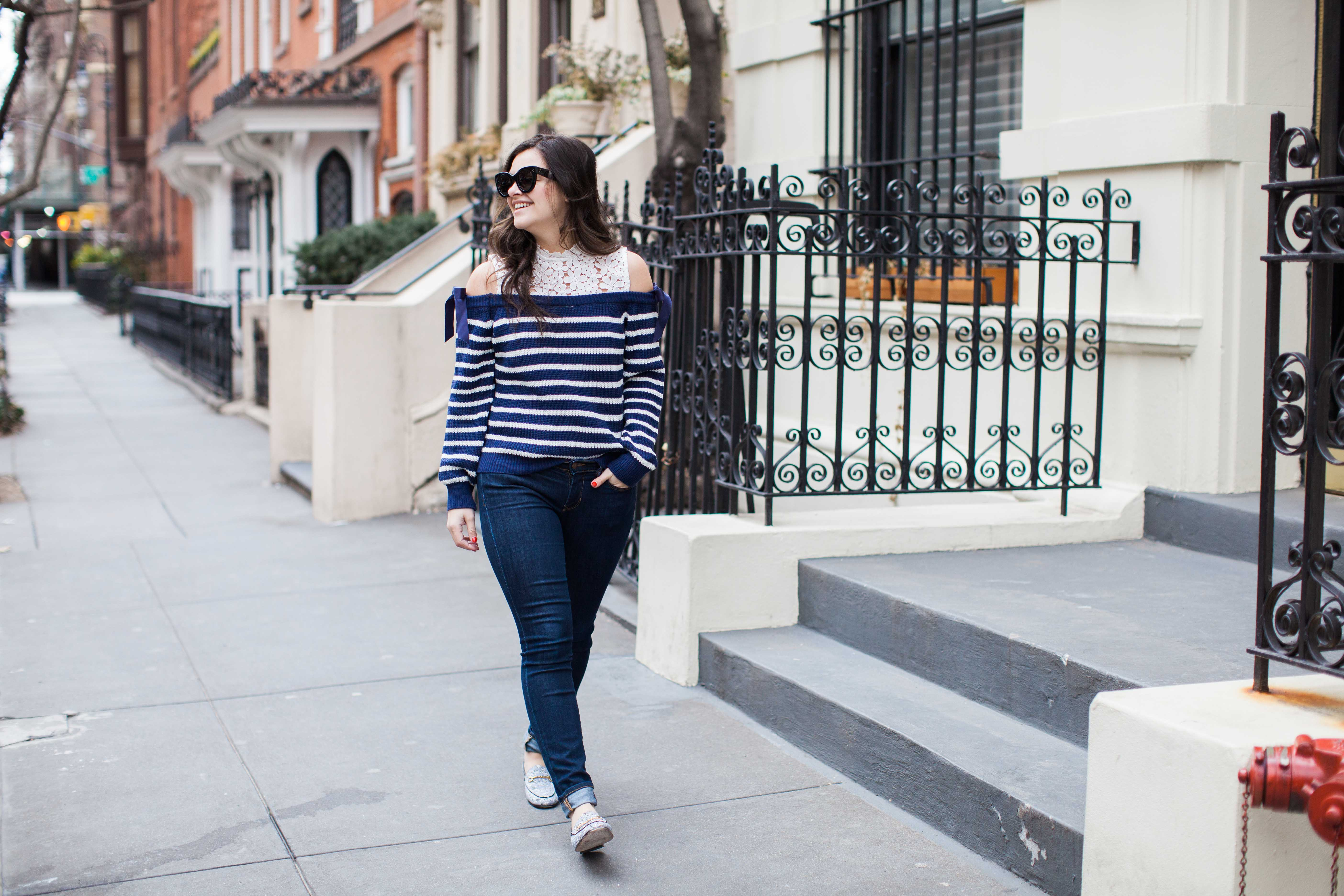 Cold Shoulder Sweater Spring Outfit