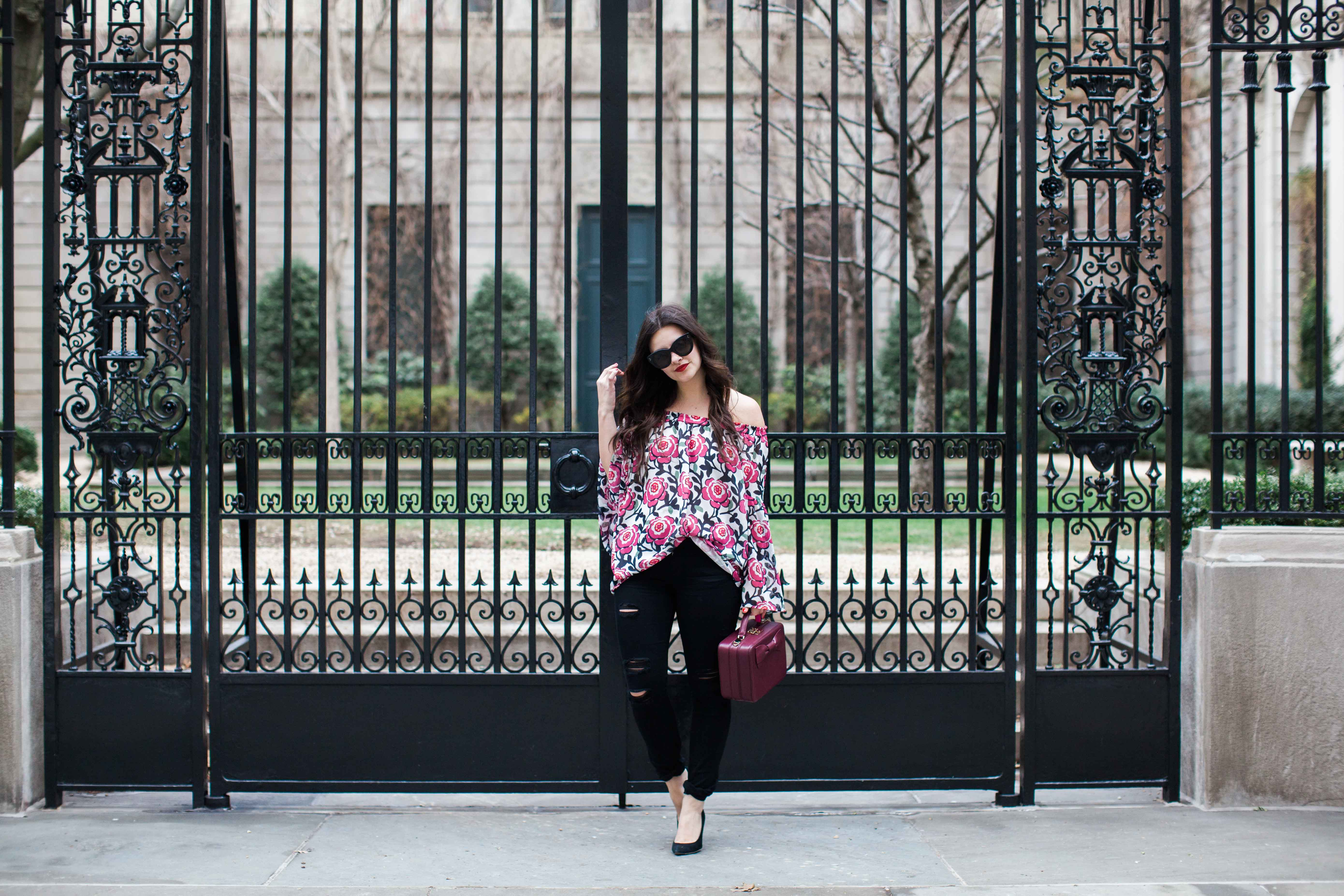 The Off The Shoulder Floral Blouse by New York fashion blogger Dana from Pink Champagne Problems
