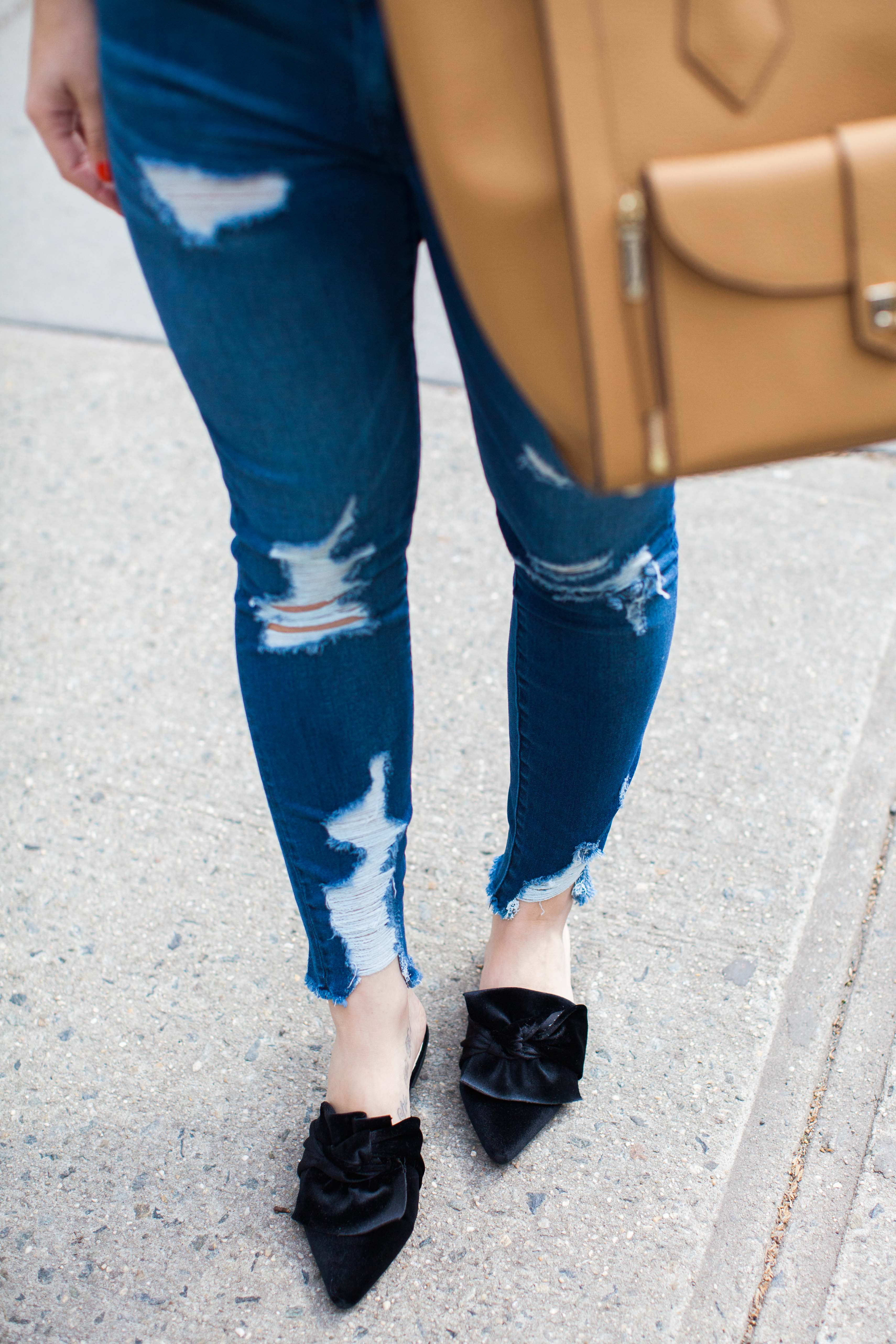 Silk Neck Scarf With Casual Ripped Jeans Outfit